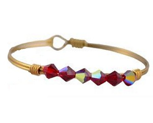 Ruby Bicone Beaded Bracelet Brass 7.5