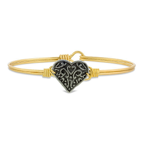 Filigree Heart Bangle Bracelet Brass 7.0