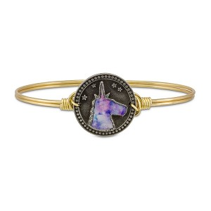 Tie Dye Unicorn Brass Bangle Bracelet 7.0