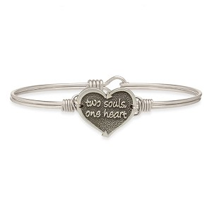 One Heart Bangle Bracelet Silver Tone