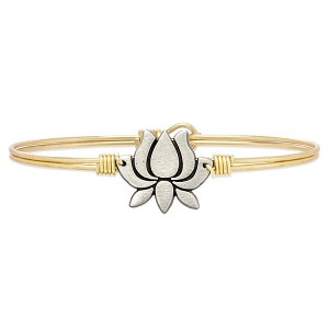 Lotus Flower Bangle Bracelet Brass 7.5