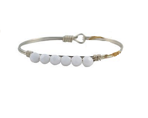 White Faceted Bead Bangle Silver 7.5